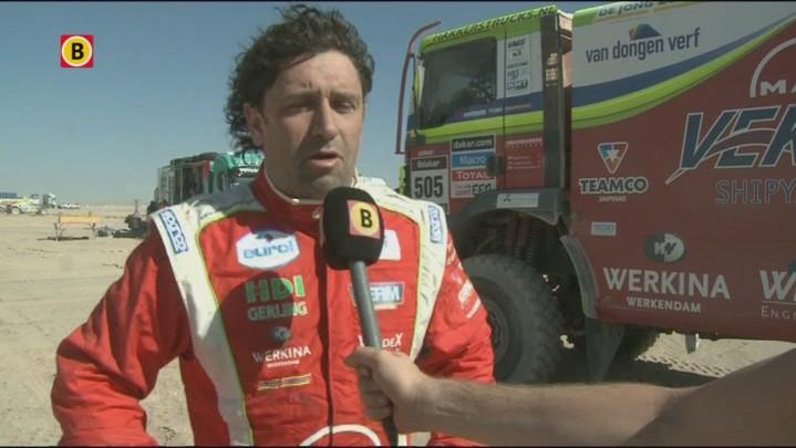 Peter Versluis uit Werkendam  over de achtste etappe van de Dakar rally waarin hij met zijn vrachtwagen als vijfde eindigde.