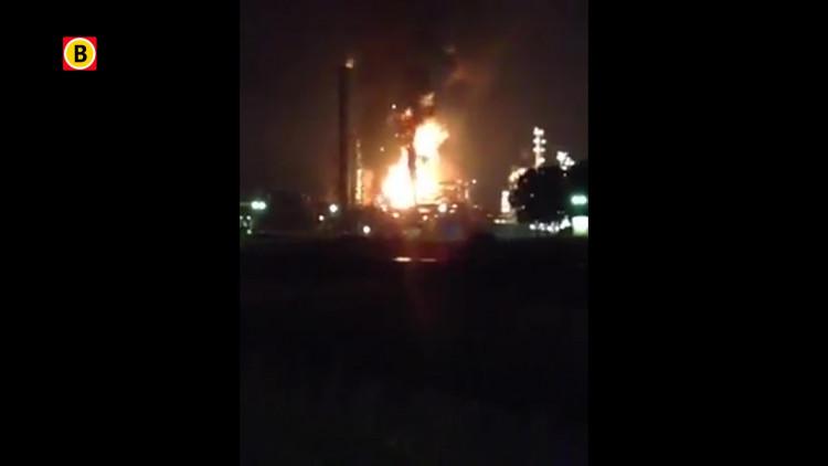 Beelden van de vlammenzee bij Shell in Moerdijk (bron: YouTube)