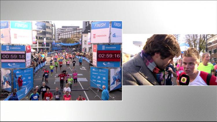 'Ik heb gewoon de lopers voor me in de gaten houden', slechtziende Saskia voltooit ED 10-kilometerwedstrijd tijdens marathon Eindhoven