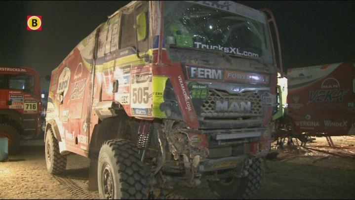 Trucker Peter Versluis uit Werkendam reageert op het uitvallen tijdens de Dakar Rally