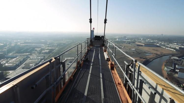 Uitzicht over Breda vanuit een honderd meter hoge kraan (Film:Via Breda)