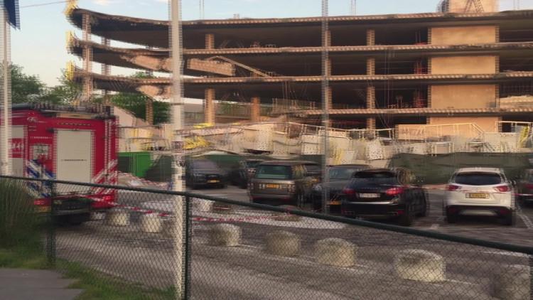 Een nieuwe parkeergarage van Eindhoven Airport is zaterdagavond ingestort