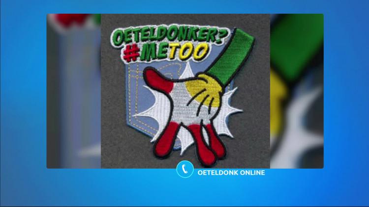 Sommige mensen storen zich aan het embleem met 'Oeteldonker? #metoo'.