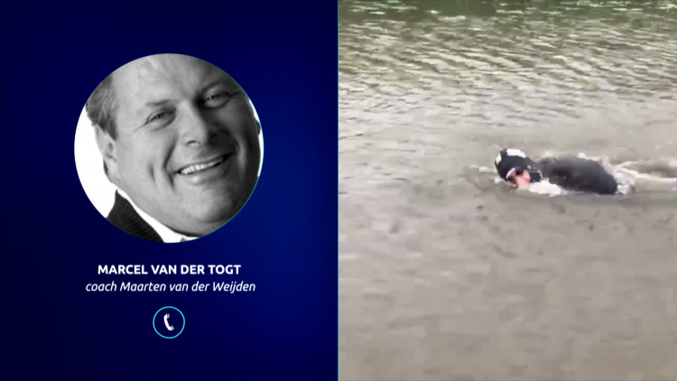 Maarten van der Weijden oefent om de Elfstedentocht te zwemmen